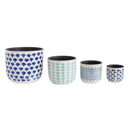 Blue and White Hand-Painted Planters, Set of Four