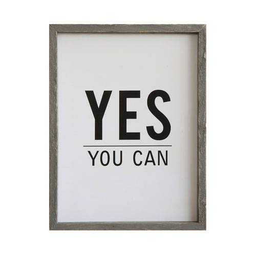 Yes You Can Pine Wood Framed Wall Décor