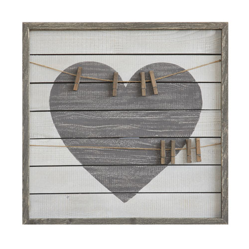 3R Studio Heart Wood Wall Art with Eight Clips