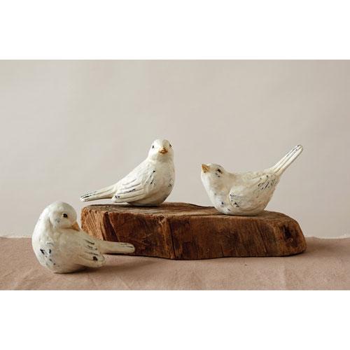 3R Studio Distressed White Bird, Set of Three