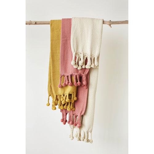 Gold Cotton Throw with Pom-Pom