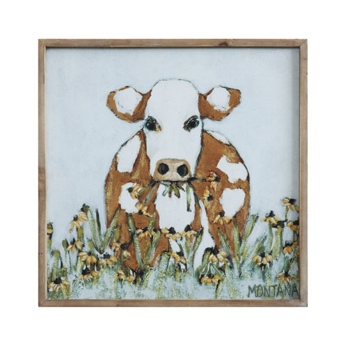 3R Studio Brown and White Cow 20 In. Square Wood Framed Canvas Wall Décor