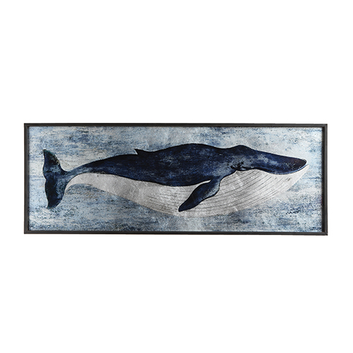 Whale Wood and Glass Wall Décor