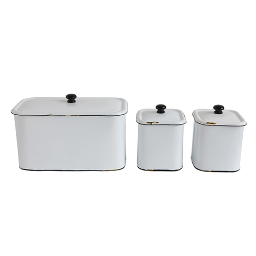 Grange Distressed White Metal Decorative Boxes, Set of 3