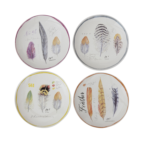 Bungalow Lane Multicolor Stoneware Plates with Feather Images, Set of 4