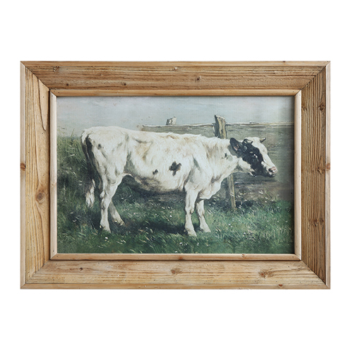 Framed Vintage Cow Wall Art