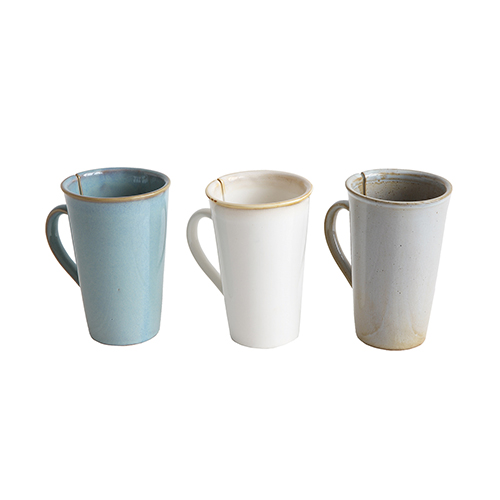 Retreat Multicolor Stoneware Mugs with Tea Bag Slots, Set of 3