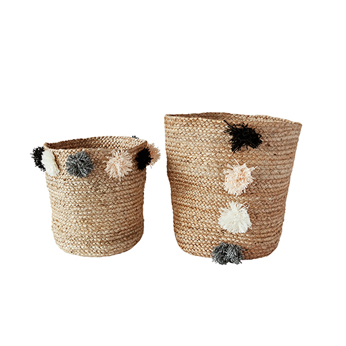 3R Studio Collected Notions Khaki Jute Braided Baskets with Pom Poms, Set of 2