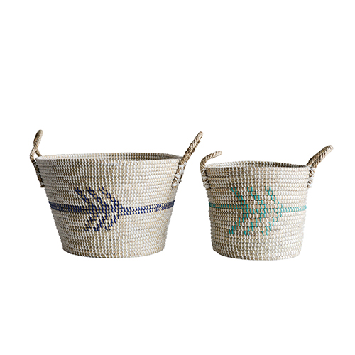 3R Studio Terrain Natural Seagrass Baskets with Handles, Set of 2