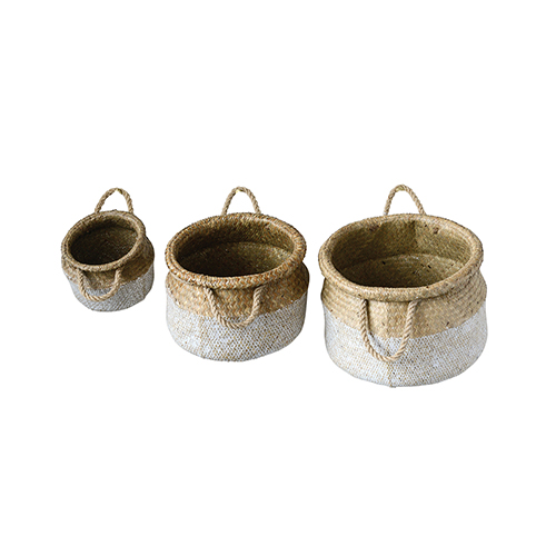 3R Studio Grange Round Natural and White Seagrass Baskets, Set of 3