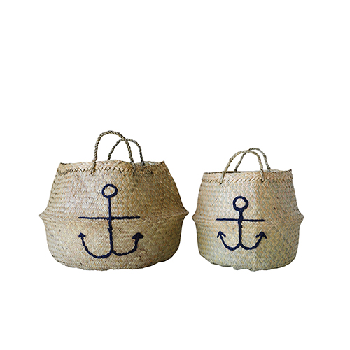 3R Studio Marin Seagrass Baskets with Anchor, Set of 2