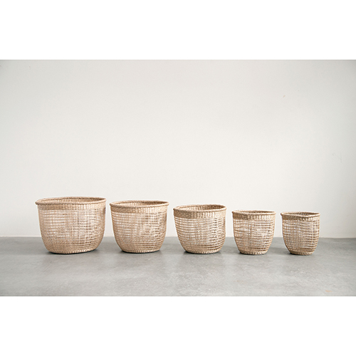 Mint and Mist Natural Seagrass Baskets, Set of 5