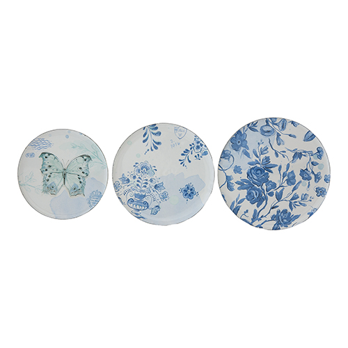 3R Studio Blue and White Round Enameled Tin Plates, Set of 3