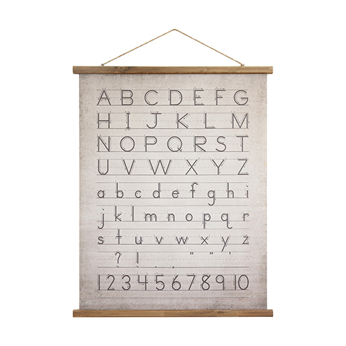 Alphabet and Numbers Linen Scroll Wall Banner
