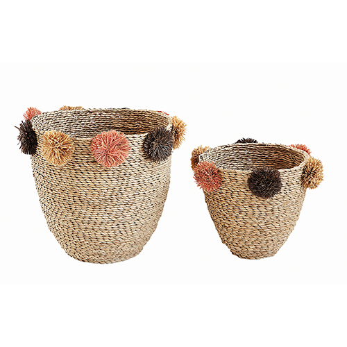 Terrain Seagrass Baskets with Brown and Pink Pom Poms, Set of 2