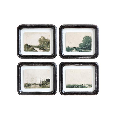 3R Studio Framed Floating Landscapes Wall Art, Set of Four