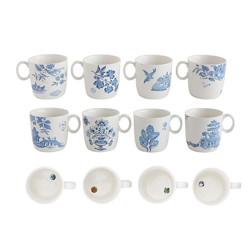 Blue and White Stoneware Mugs, Set of 4