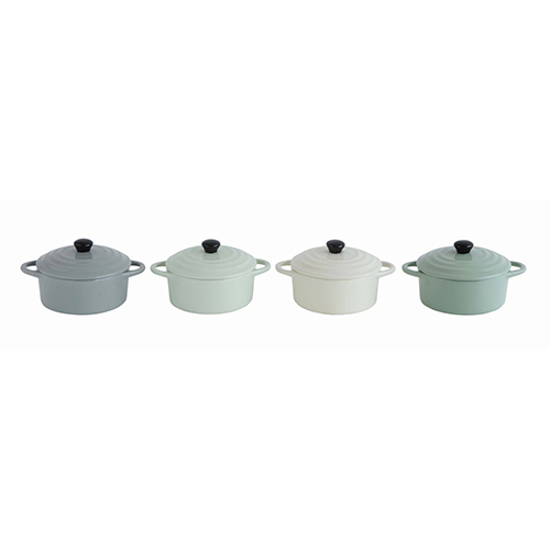 Multicolor Stoneware Mini Bakers with Lids, Set of 4