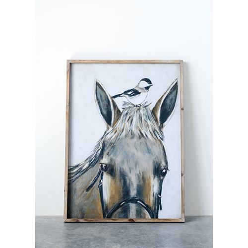 Framed Horse and Bird Wall Décor