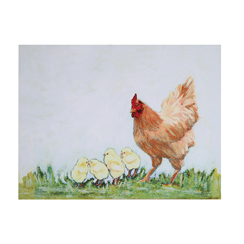3R Studio Hen and Chicken Canvas Wall Décor