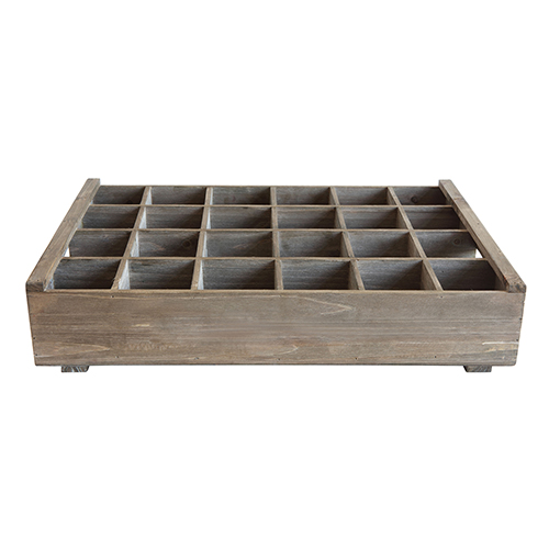 Casual Country Wood Crate with 24 Compartments