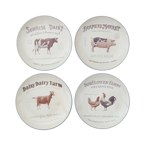 Casual Country Multicolor Stoneware Plates with Farm Animals, Set of 4