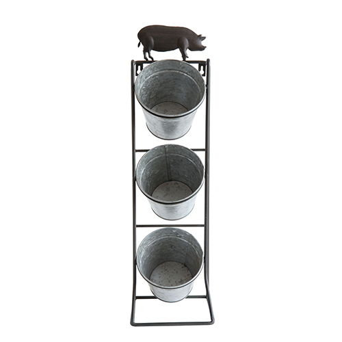 Casual Country Grey Metal Stand with 3 Hanging Buckets
