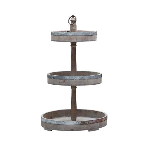 Wood and Tin Three-Tier Tray