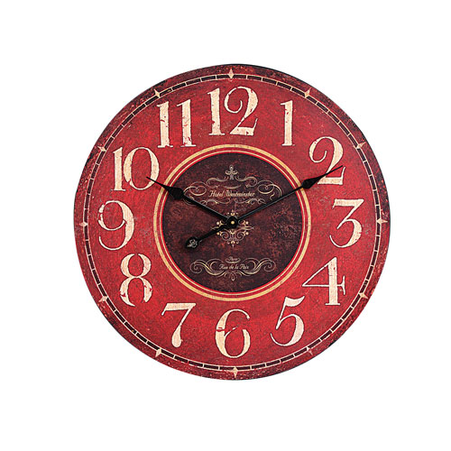 Red Round Wall Clock