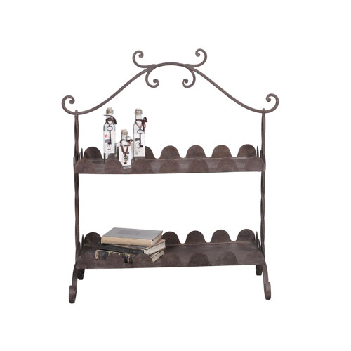 Rust Metal Two-Tier Tray