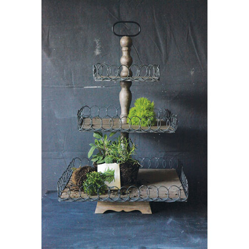 3R Studio Gray Wash Wood Three-Tier Tray