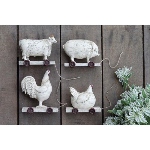 3R Studio Distressed Cream Farm Animals, Set of Four