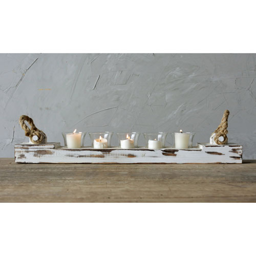 3R Studio White Wood Votive Holder with Five Glass Cups