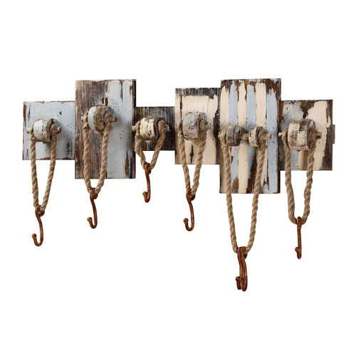Wood and Rope Wall Hooks, with Seven Hooks