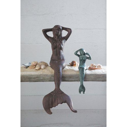 3R Studio Rust Cast Iron Mermaid Shelf Sitter