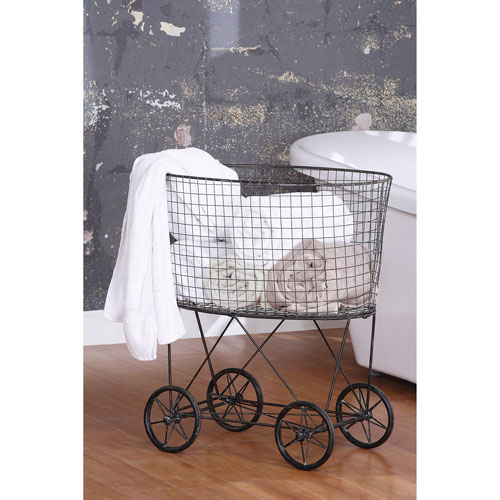 3R Studio Metal Vintage Laundry Basket with Wheels