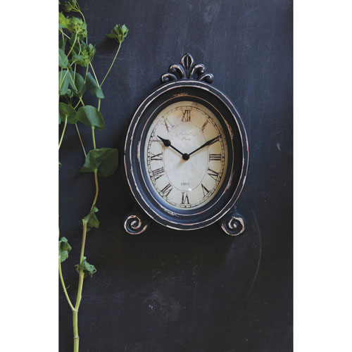 3R Studio Distressed Brown and Cream Mantle Clock with Feet