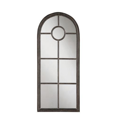 3R Studio Distressed Black Arched Metal Framed Mirror