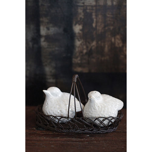Ceramic Bird Salt and Pepper Shaker In Wire Basket