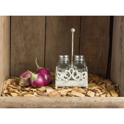 3R Studio Metal Salt and Pepper Shaker Caddy with Glass Shakers
