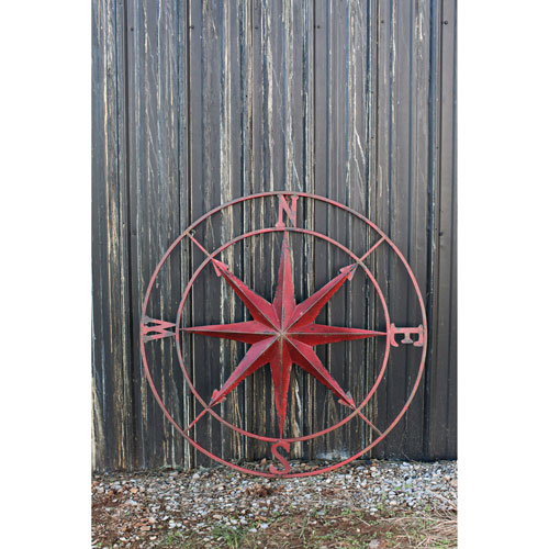 3R Studio Red Round Metal Compass Wall Décor