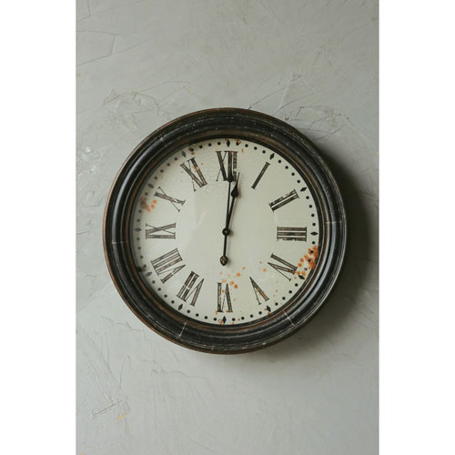 Brown 28 In. Round Wall Clock