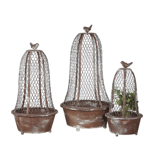 3R Studio Round Metal Planter with Wire Cloche and Bird, Set of Three