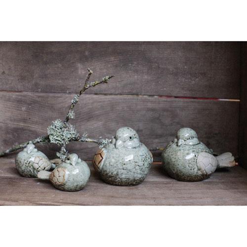 3R Studio Aqua Stoneware Bird, Set of Four