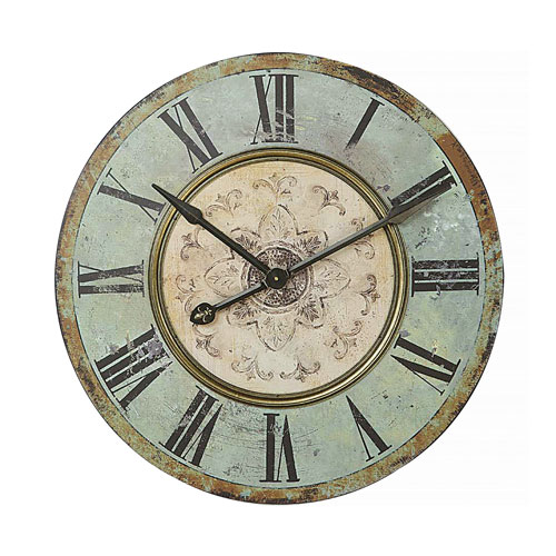 Turquoise Green Round 29 In. Wall Clock