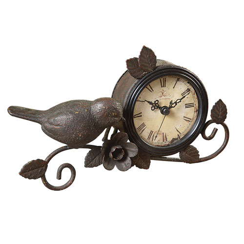Rust Metal Mantle Clock with Bird and Flower