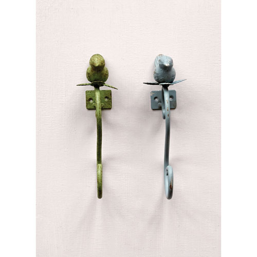 Distressed Green Bird Metal Hook