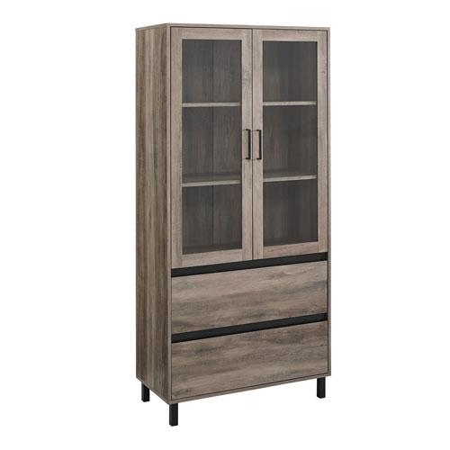 Clark Gray and Black Storage Hutch with Glass Door