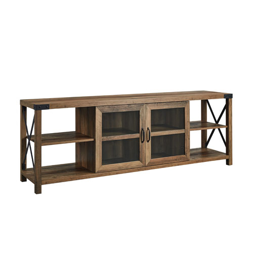 Barnwood X Frame TV Stand with Glass Door
