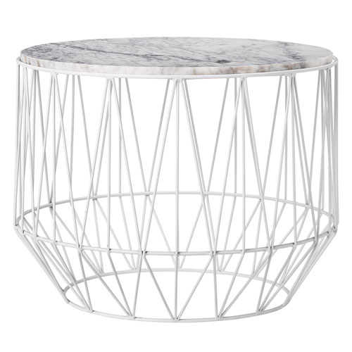 White Metal Coffee Table with Marble Top